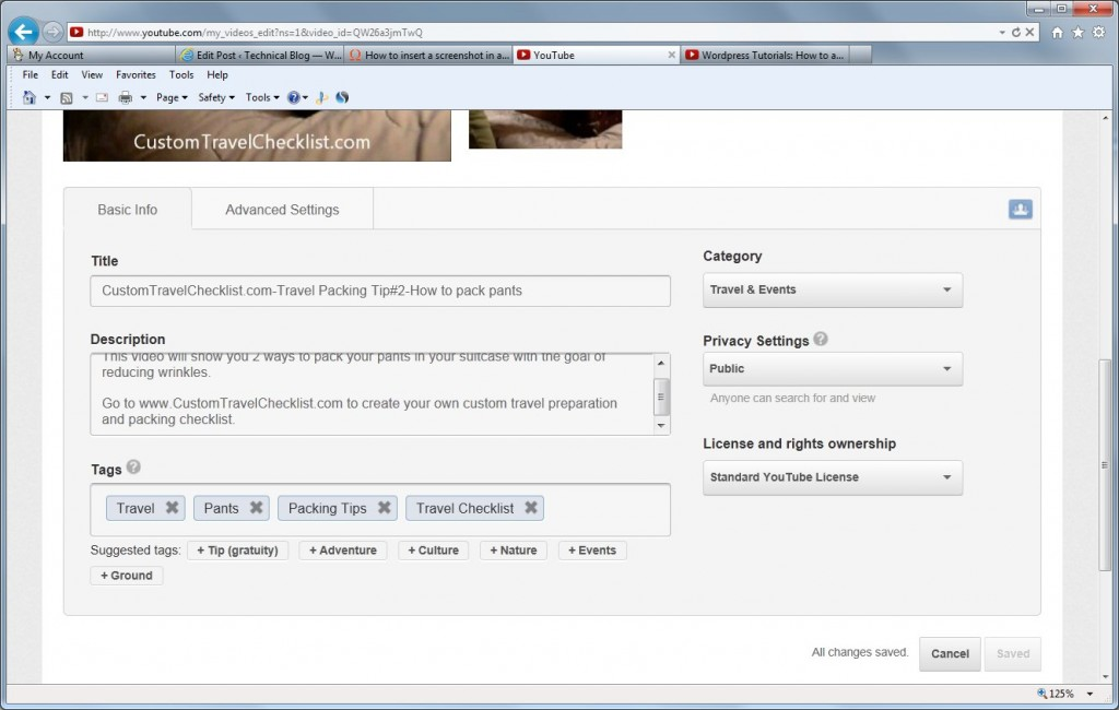 YouTube screen shot showing fields that can be optimized to generate more views and hence more traffic to your website